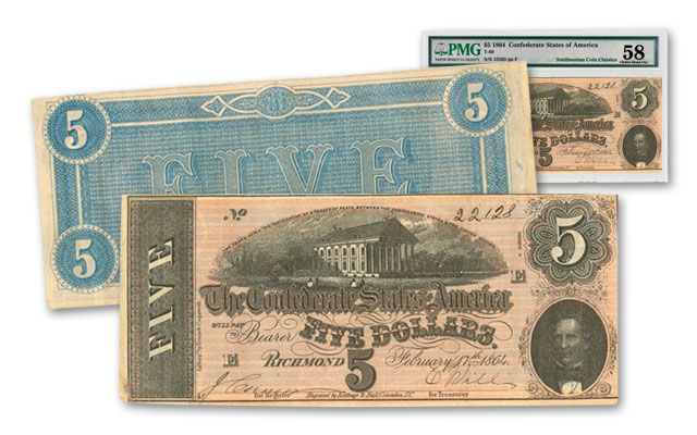 1864 5 Dollar Confederate Note AU