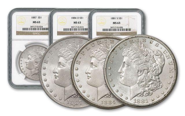 1881-1887-POS Morgan Silver Dollar 3pc Set NGC MS63