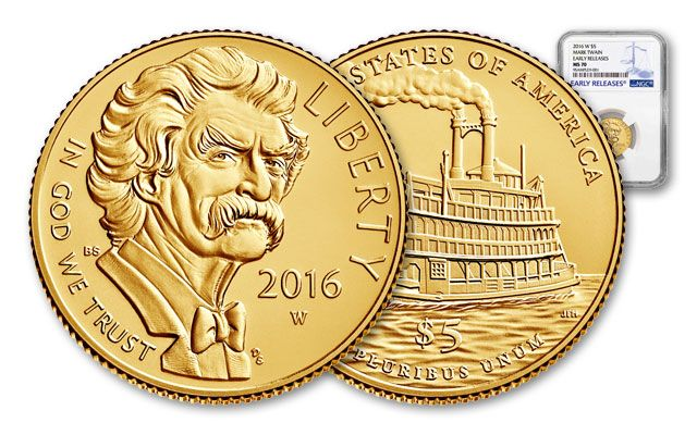 2016 5 Dollar Mark Twain Gold MS70 Commemorative Early Release