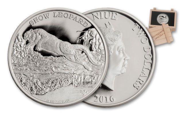 2016 Niue 2 Dollar 1-oz Silver Snow Leopard Proof