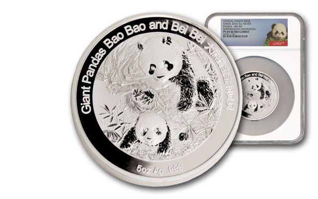 2016 China 5-oz. Silver Smithsonian Panda NGC PF69
