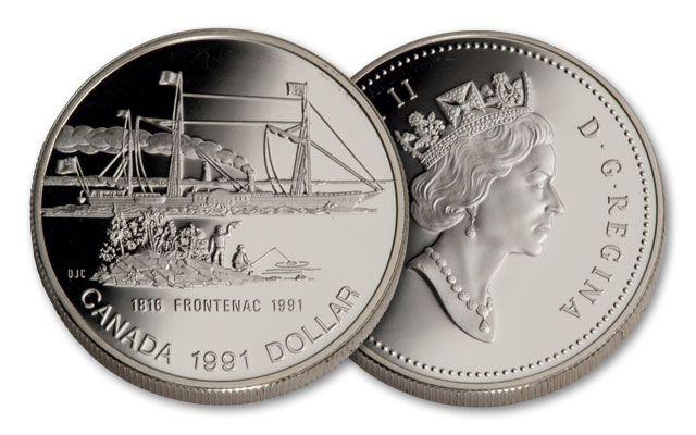 1991 Canada 1 Dollar Silver Frontenac Proof