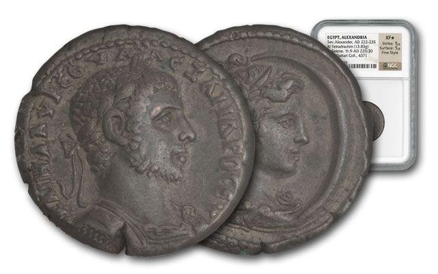 222-235 AD Severus Alexander Bi Tetradra NGC XF