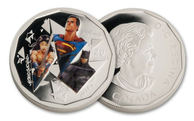 2016 Canada 20 Dollar 1-oz Silver Batman vs Superman Trinity Proof