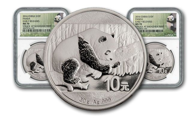 2016 China 30-g Silver Panda 2pc Mint Set NGC MS70 Early Release
