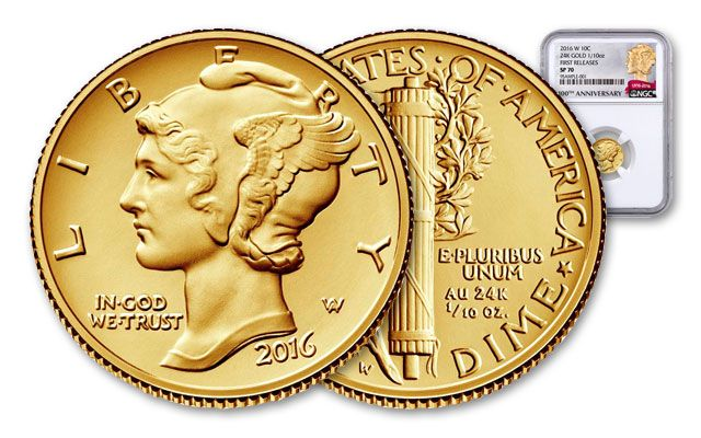 2016-W 10 Cent Gold Mercury Dime NGC MS70 First Release
