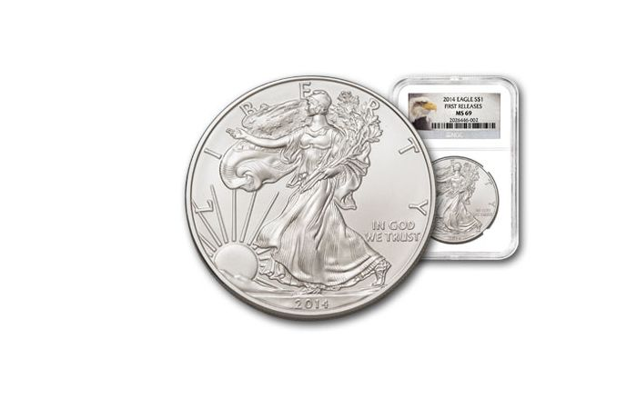 2014 1 Dollar 1-oz Silver Eagle NGC MS69 First Release