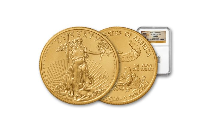 2014 5 Dollar 1/10 Oz Gold Eagle NGC MS70 First Release