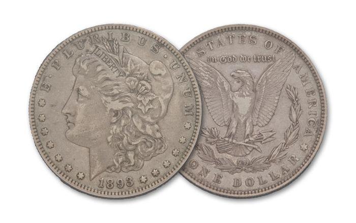 1893-P Morgan Silver Dollar XF
