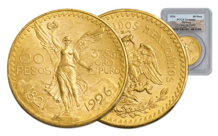 1926 Mexico 50 Peso 1.2-oz Gold Carson City Cache PCGS Genuine