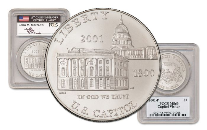 2001-P U.S. Capitol Visitor Center Silver Dollar PCGS MS69 Mercanti Signed