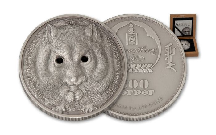 2015 Mongolia 500 Togrog 1-oz Silver Wildlife Protection - Hamster Antique
