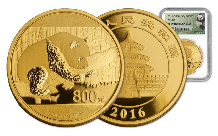 2016 China 800 Yuan 50g Gold Panda Proof Ngc Pf69uc Coin