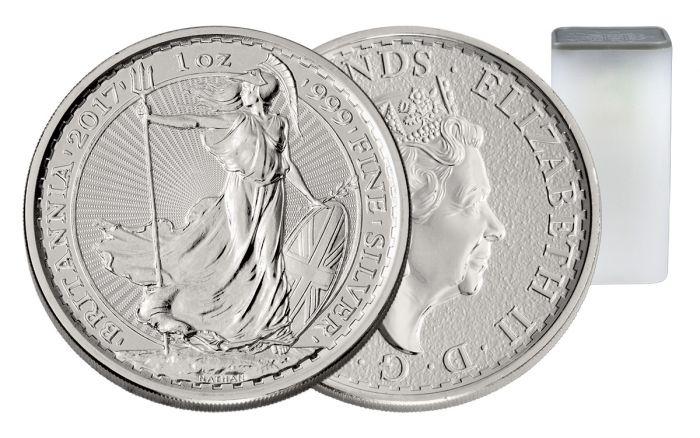 2017 Uk 1 Oz Silver Britannias Bu 25 Coin Roll Vault