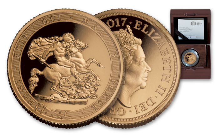 2017 Uk Gold Sovereign Piedfort Anniversary Proof Coin