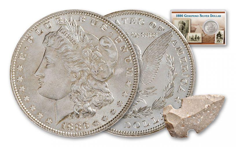 1886 Morgan Geronimo Silver Dollar with Arrowhead