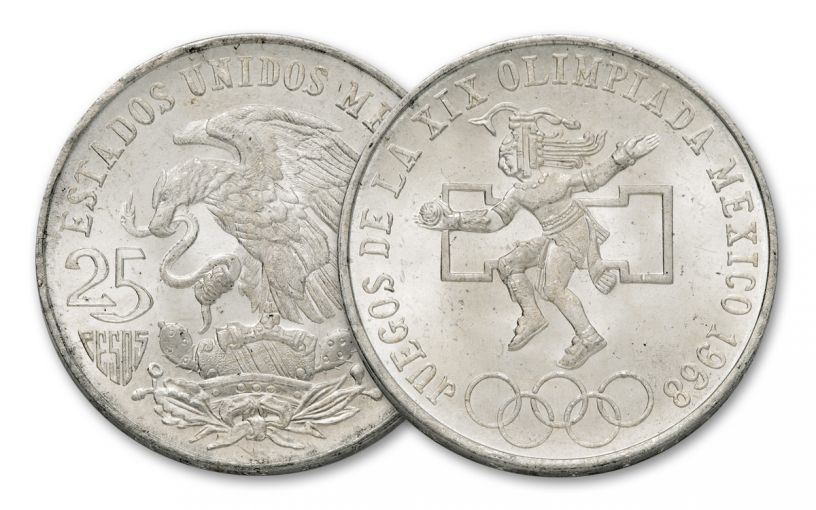 1986 Mexico 25 Peso Silver Olympic Games AU