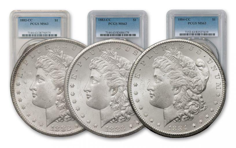 1882-1884-CC Morgan Silver Dollar PCGS MS63 - 3 Piece Set