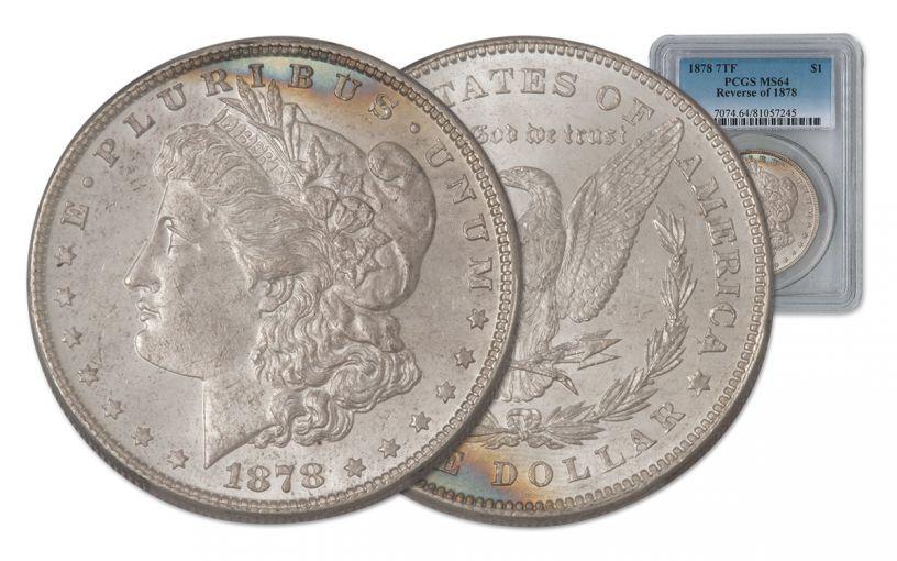 1878-P Morgan Silver Dollar 7 Tail Feathers REV '78 PCGS MS64