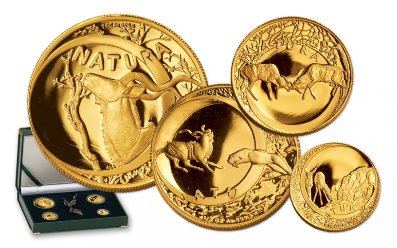 1999 South Africa Gold Natura Kudu Prestige 4-Pc Proof Set