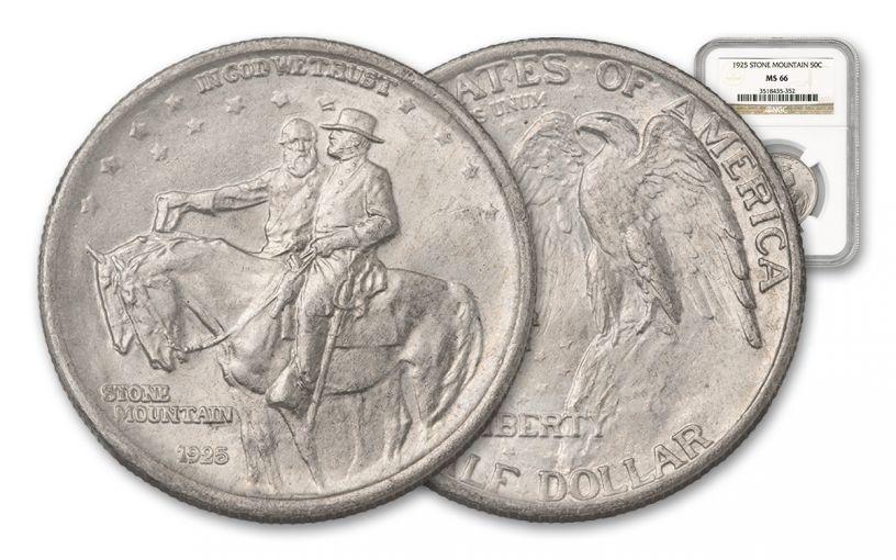 1925-P Silver Half Dollar Stone Mountain PCGS MS66