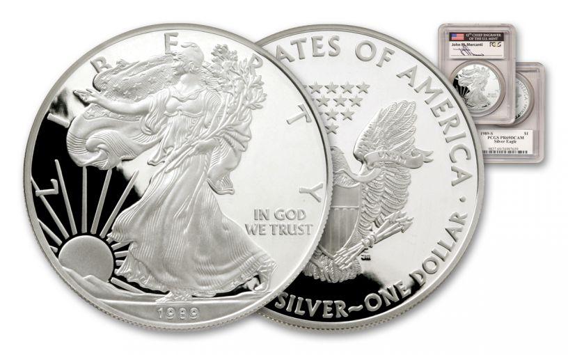1989-S 1 Dollar 1-oz Silver Eagle PCGS PR69DCAM  Mercanti Signed
