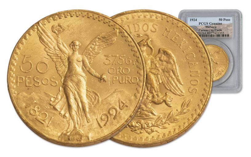 1924 Mexico 50 Peso 1.2-oz Gold Carson City Cache PCGS Genuine