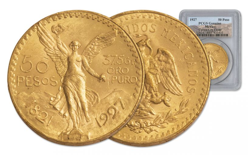 1927 Mexico 50 Peso 1.2-oz Gold Carson City Cache PCGS Genuine