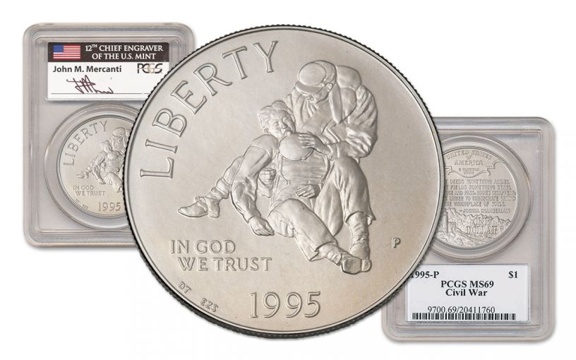 1995-P Civil War Battlefield Silver Dollar PCGS MS69 Mercanti Signed