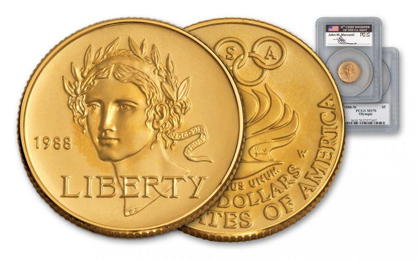 1988-W 5 Dollar Gold Seoul Olympiad PCGS MS70 Mercanti Signed