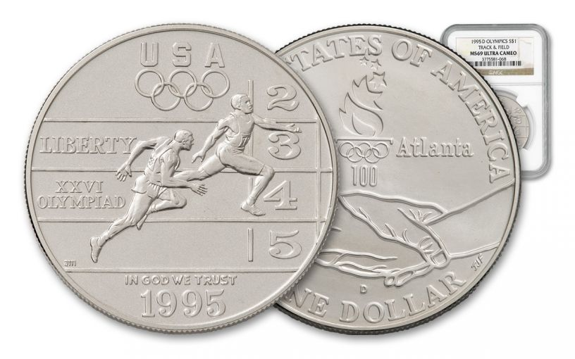 1995-D 1 Dollar Silver Olympic Track and Field NGC/PCGS MS69