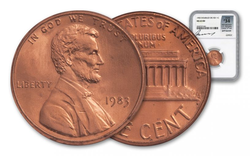 1983 1 Cent Lincoln Double Die NGC MS65RD - 100 Greatest