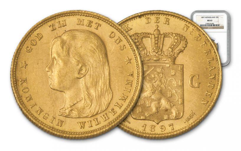 1897 Dutch Gold Queen Wilhelmina NGC MS63