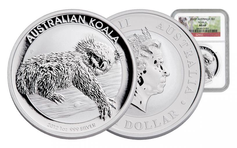2012 Australia 1-oz Silver Koala NGC-MS69