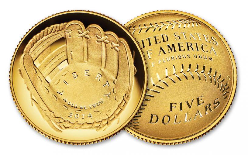 2014-W 5 Dollar Gold Baseball Hall Of Fame Proof