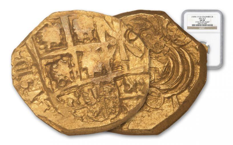 1694-1713 Columbia 2 Escudo 1715 Plate Fleet NGC AU58