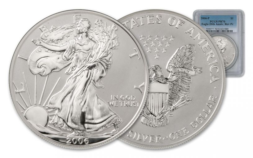 2006-W 1 Dollar 1-oz Silver Eagle Reverse Proof NGC/PCGS PR70