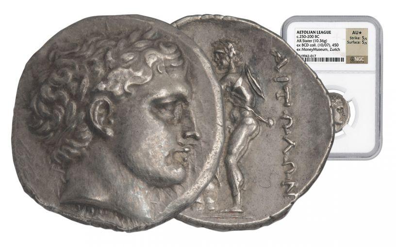 250-200 BC Aetolian League AR Stater NGC AU+