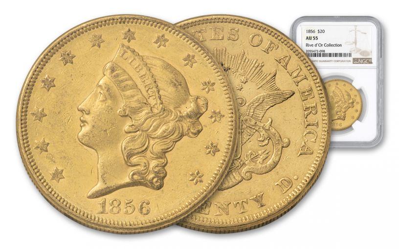 1856-P 20 Dollar Liberty NGC AU55 Rive D'OR