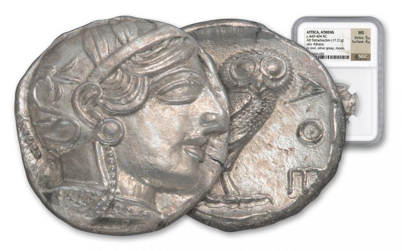 440-404 BC Greek Attica Athens Owl Tetradrachm NGC Mint State