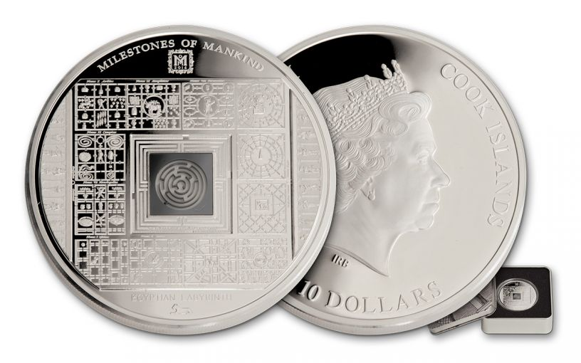 2016 Cook Islands 10 Dollar 50 Gram Silver Egyptian Labyrinth Proof