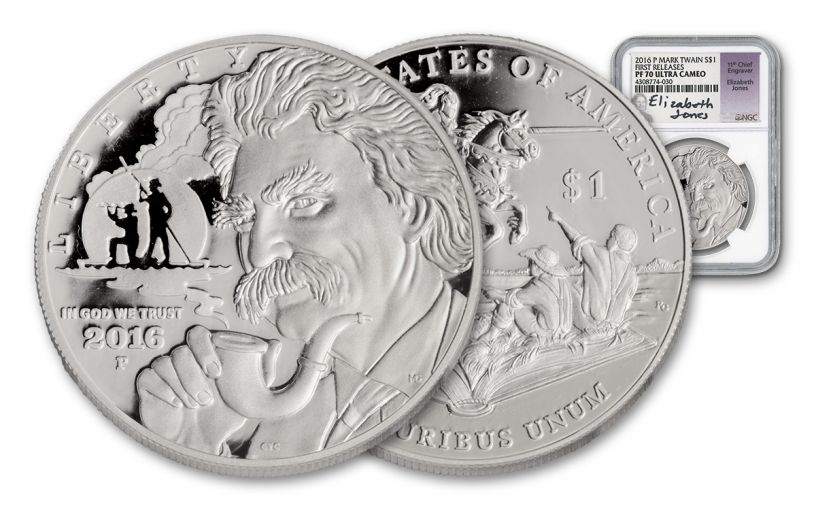 2016-P 1 Dollar Silver Mark Twain Commemorative NGC PF70 First Releases - Jones Signed