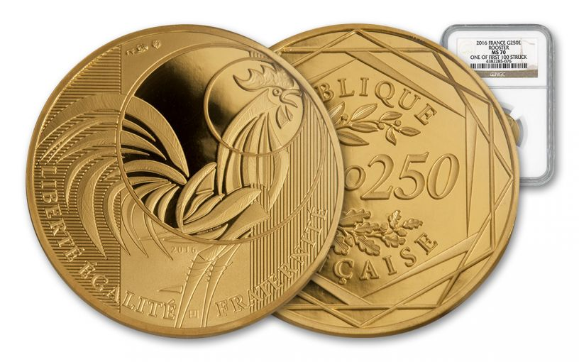 2016 France 250 Euro Gold rooster NGC MS70 First Struck