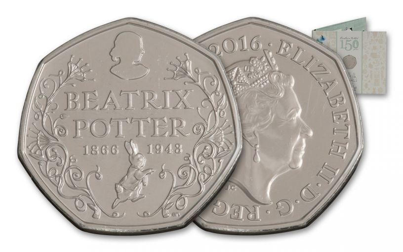 2016 Great Britain 50 Pence 150th Anniversary of Beatrix Potter BU