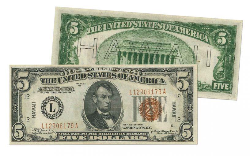 "1934 U.S. 5 Dollar Federal Reserve Notes ""Hawaii"" Mule PCGS 64PPQ"