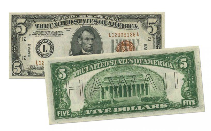 "1934 U.S. 5 Dollar Federal Reserve notes ""Hawaii"" Mule PCGS 65PPQ"