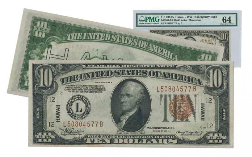 """1934-A U.S. 10 Dollar Federal Reserve Notes """"Hawaii"""" Mule PMG/PCGS MS64"""