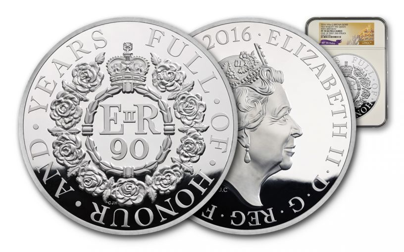2016 Great Britain 500 Pound Kilo Silver Queen Elizabeth II 90th Birthday NGC PF70UCAM First Struck