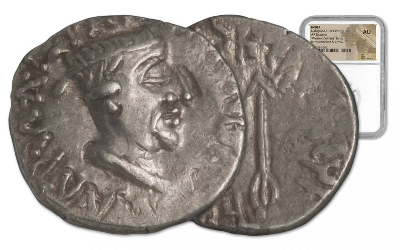 85-65 BC Indo-Greek Silver Drachm of King Nahapana Apollodotus II NGC AU
