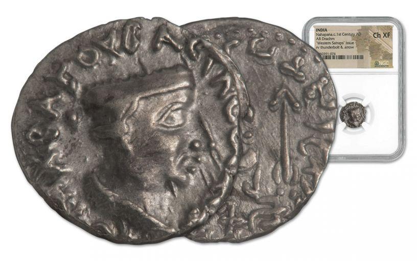 85-65 BC Indo-Greek Silver Drachm of King Nahapana Apollodotus II NGC XF+
